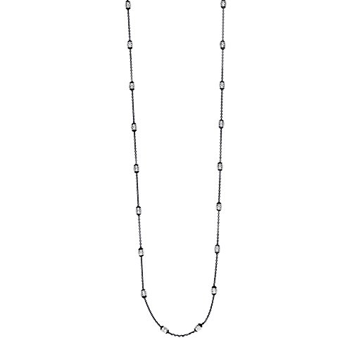Sterling Silver Ruthenium 4.0mm Diam-cut White Bead 1.25mm Black Cable Chain Necklace - 36 Inch 4mm Sterling Silver Cable