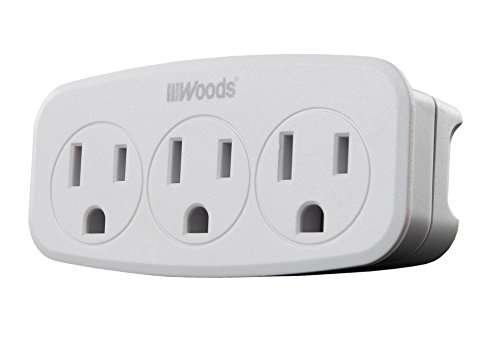 Woods 41013 Wall Adapter with 3 Grounded Power Outlets