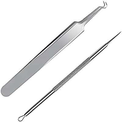 FIXBODY Blackhead & Splinter Remover Tools - Stainless Steel Professional Easily Cure Pimples Whiteheads Comedones Acne Zit Ingrown Hairs and Facial Impurities Bend Head Tweezer Surgical Kit