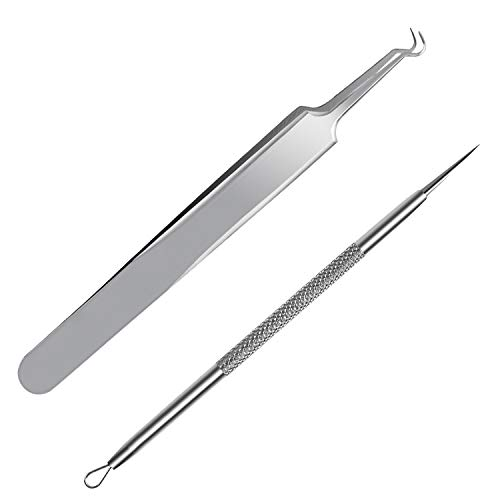 FIXBODY Blackhead & Splinter Remover Tools - Stainless Steel Professional Easily Cure Pimples Whiteheads Comedones Acne Zit Ingrown Hairs and Facial Impurities Bend Head Tweezer Surgical Kit ()