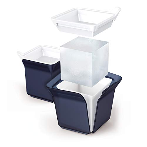 Zoku Silicone Cube Ice Molds, Set of 2 Stackable Square-Shaped Ice Molds, Keep Drinks Colder Longer with Less Dilution, Easy-Release, BPA and Phthalate-Free, Slate Blue