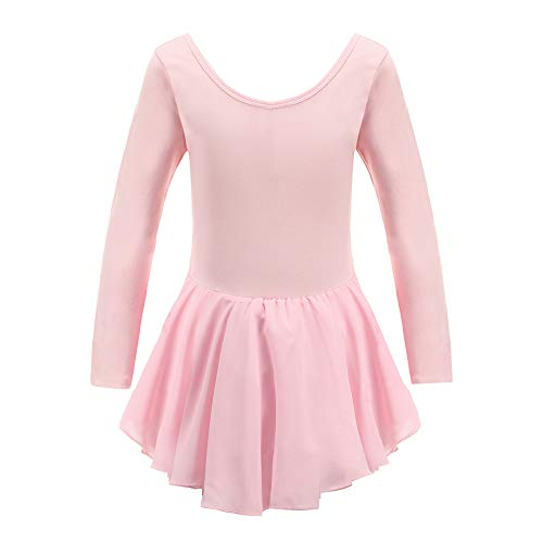 - Tigerhu Girls' Team Basic Long Sleeve Leotard for Kids Dance Ballet Tutu Dress with Open Crotch, Pink 110