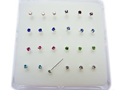 FULL SET OF 8 DIFFERENT COLOUR CZ JEWEL STERLING SILVER NOSE STUDS G1YNbc6Iln