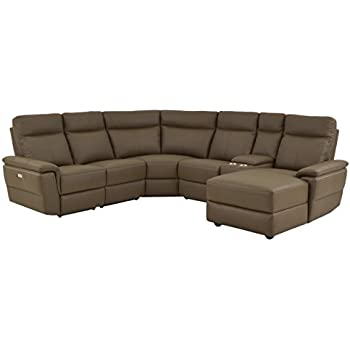 Homelegance Olympia 6-Piece Power Reclining Sectional Sofa with Left Side Chaise, USB Charging Port and Cup Holder Console Top Grain Leather Match, Raisin