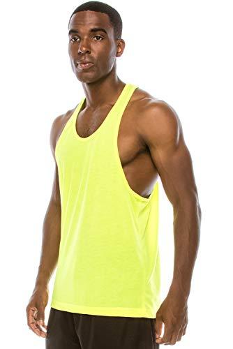 Yellow Tank Top Shirt - JC DISTRO Unisex Workout Deep Cut Racer Back Muscle Yellow Tank Top Large