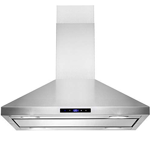 AKDY Island Mount Range Hood -30″ Stainless-Steel Hood Fan for Kitchen – 3-Speed Professional Quiet Motor – Premium Touch Control Panel – Minimalist Design – Mesh Filters & LED Lights