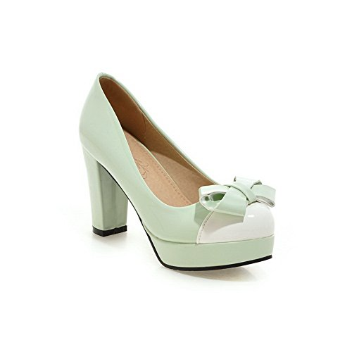 Thick Leather Green Ladies Heel Pumps Spun Bowknot Shoes BalaMasa Color Imitated Gold Bottom Matching ZtwA6q