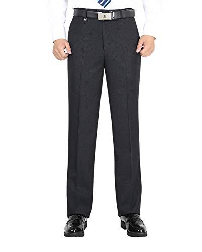 Alimens & Gentle Men's Straight Fit Flat Front No Iron Dress Pants - Color:Deep Grey-2, Size: 46Wx28L