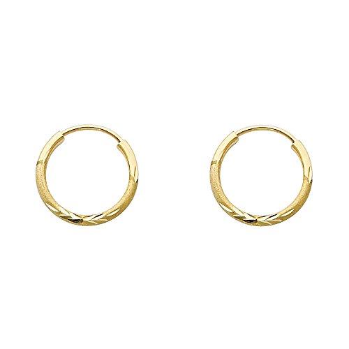 14k Yellow Gold 1.5mm Diamond Cut Satin/High Polished Elegant Endless Hoop Earrings (0.6