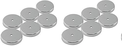 Master Magnetics RB50CX6 Round Base Magnet Fastener with 0.197'' Center Hole Chrome Plate, 2.04'' Diameter, 0.302'' Thick, 35 Pounds, Silver (Pack of 6) (2- (Pack of 6))