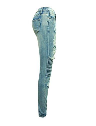 Fit A Denim Blu Skinny Vita Alta Jeans Larghi Strappati Donna Chiaro Slim Pantaloni nq86c0URS