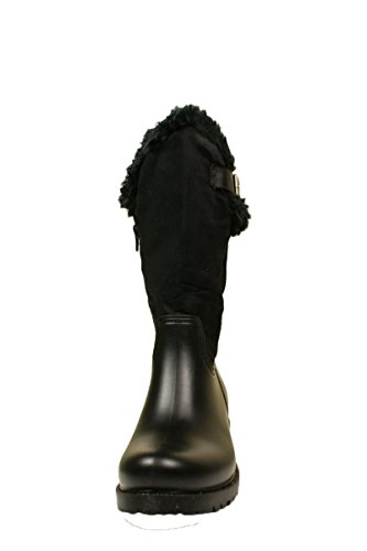 Wellington Womens Boots Fur Suede with Festival and Mid Designer Look Trim Black Calf York Lined Leather Ladies P67AqAd