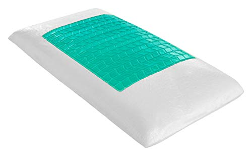 Comfyt Cervical Pillow Cooling Pillow - Memory Foam Pillow - Sleeping Pillow Bed Pillow Gel Layer Provides Coolness Bamboo Pillow Gusseted Pillow - Orthopedic Pillow Removable Washable Bamboo Cover