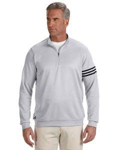 (adidas Mens Climalite 3-Stripes Pullover (A190) -Chrome/BL -XL)