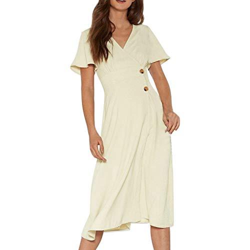 - Women's Button Down Short Sleeve V Neck Casual Summer Flowy Dress Beige