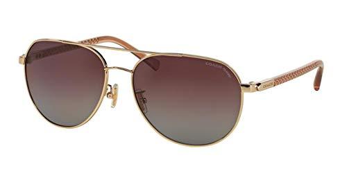 Coach Womens L137 Sunglasses (HC7053) Gold/Red Metal - Polarized - 58mm