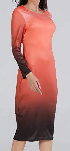 Skinny Gradient Orange Color Midi Pencil Dress Round Long Sleeve Womens Neck Domple CqFntgn