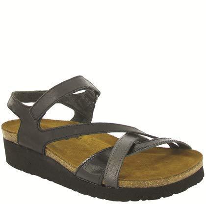 - NAOT Footwear Women's Sophia Sandal Brushed Black Lthr/Black Crinkle Patent Lthr/Metallic Rd Lthr 11 M US