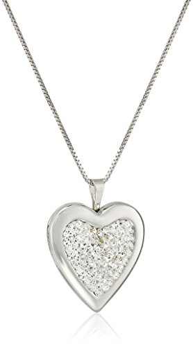Sterling Silver Crystal Locket Necklace