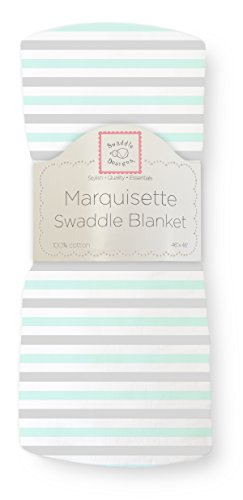SwaddleDesigns Marquisette Swaddling Blanket, Premium Cotton Muslin, Pastel SeaCrystal Simple Stripes Pastel Stripe Baby Blanket