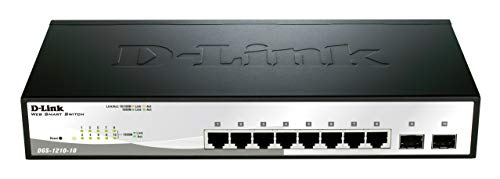 D-Link Fast Ethernet Switch, 8 10 Port Gigabit Web Smart Managed Layer 2 Features with 2 Gigabit SFP Ports (DGS-1210-10)