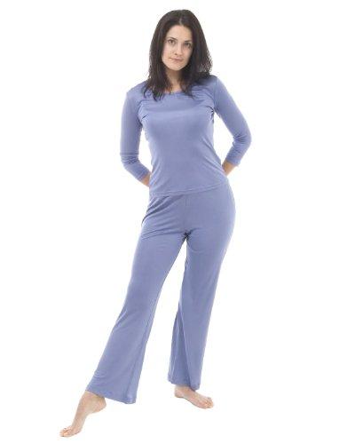 Soie tricoté 3/4 salon de manchon de jeu - taille: XL - couleur: bleu fumé