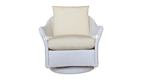 Lloyd Flanders 72291-001-922 Freeport Collection Swivel Lounge Glider in White Loom Finish, Canvas Air Blue (Lloyd Flanders Wicker)