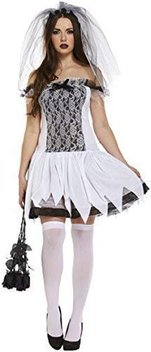 Ladies Glamorous Ghost Bride Halloween Horror Ghoul Spirit Fancy Dress Costume Outfit 8-10-12]()