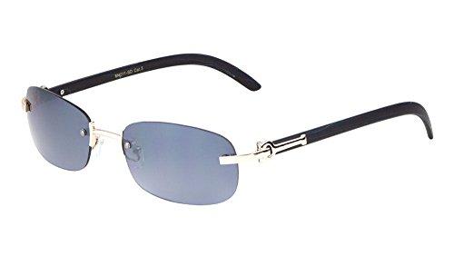 (Dapper Slim Rimless Oval Metal & Wood Aviator Sunglasses (Rose Gold & Black Wood, Smoke))