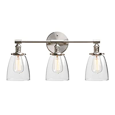 """Phansthy Industrial Wall Lamp with ON/Off Button, Triple Industrial Wall Sconce with Three 5.6"""" Dome Clear Glass Canopy"""