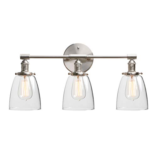 """Phansthy Industrial Wall Sconce 3 Light Brushed Nickel Wall Lamp with 5.6"""" Dome Clear Glass Canopy (Brushed)"""