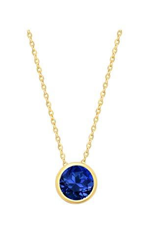 14k Yellow Gold 7mm Round Created Blue Sapphire Bezel Gemstone Pendant Necklace, 18