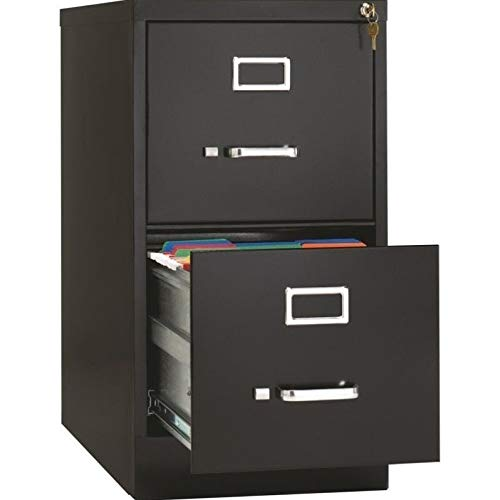 Lorell 2-Drawer Vertical File with Lock, 15 by 26-1/2 by 28-3/8-Inch, Black