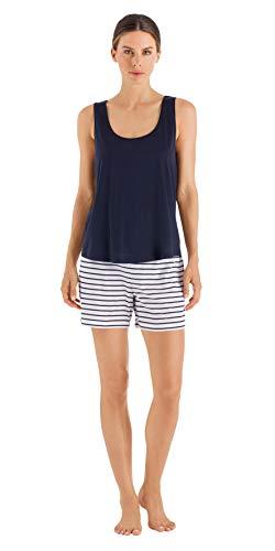 HANRO Women's Laura Short Pajama Set, Midnight, X-Small