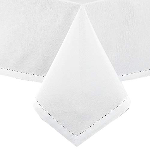 Lintex Classic Hemstitch Fabric Tablecloth - Easy Care Cotton Blend Tablecloths with Hemstitching and Mitered Corners - 60 Inch X 102 Inch Oblong/Rectangular, White