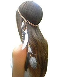 Women Lady BOHO Peacock Feather Hairdressing Hair Band Head Band Folk Style Indian Handmade Headband Hair Hoop Headpiece Headwear Accessory -