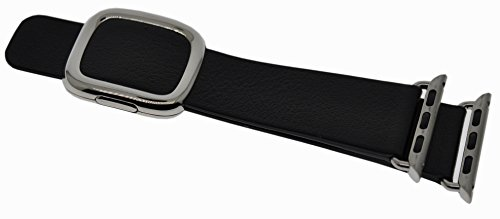 JSGJMY Apple Watch Band 42mm Genuine Leather Loop Original Modern Buckle With Magnetic Clasp Replacement Strap for iwatch Series1 Series2 (Black+Silver Buckle, 42mm Small Size) - Face Buckle