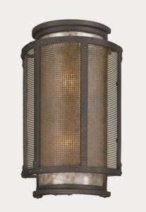 Troy Lighting B3273 Copper Mountain – 18.25 Two Light Outdoor Wall Lantren, Cenntinial Rust Finish with Silver Mica Glass