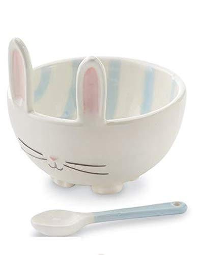 (Bunny Dip Bowl - Candy Bowl With Coordinating Ceramic Spoon - White w Blue)