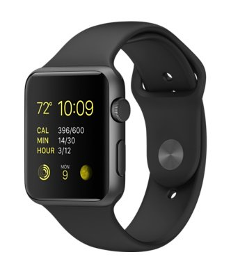 Apple Watch Sport 42mm Case - Space Gray Aluminum - Black Sport Band (MJ3T2LLA)