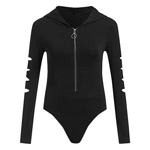 Women's Sexy Solid Long Sleeve V-Neck Hoodie Playsuit Zipper Casual Rompers Jumpsuit ()