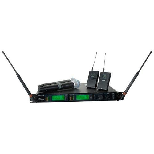 - Shure UR4D+ Dual Channel Wireless System w/Two UR1 Bodypacks & Two UR2/BETA58 Handheld Transmitters Band G1