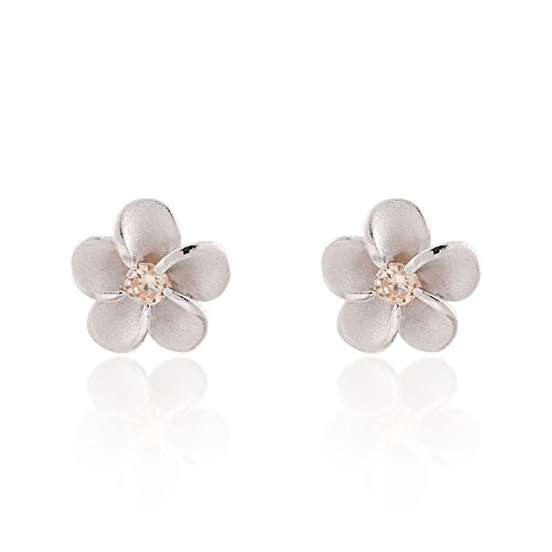 Mini Plumeria Hawaiian Flower with Cubic Zirconia, Matte Finish Stud Earrings (Plumeria Flower Earrings)