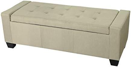 Edeco Rectangular Storage Ottoman with Button Tufted Design Fabric Bench,Beige