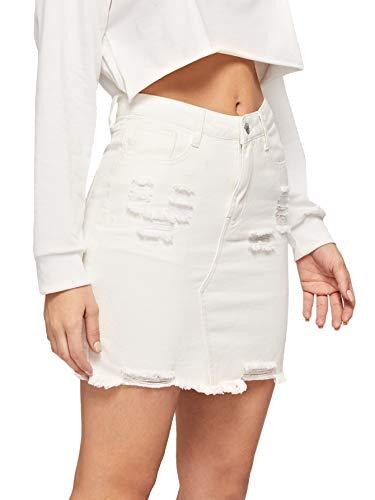 Verdusa Women's Casual Distressed Frayed Pencil Short Denim Skirt White - Skirt Denim Straight