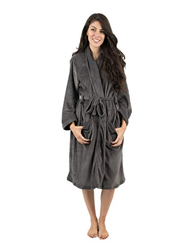 - Leveret Womens Robe Soft Micro Fleece Plush Shawl Collar Bathrobe Grey Size XL/XXL