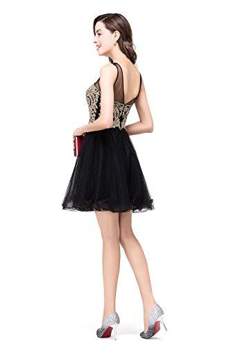 Ausschnitt Babyonline Cocktailkleid Herz Crystal Schwarz Applique Damen Schwarz Kurz Cocktailkleid Abendkleid Tüll Mini 5W5Hqwr0p