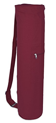 YogaAccessories Cotton Zippered Yoga Mat Bag - Burgundy