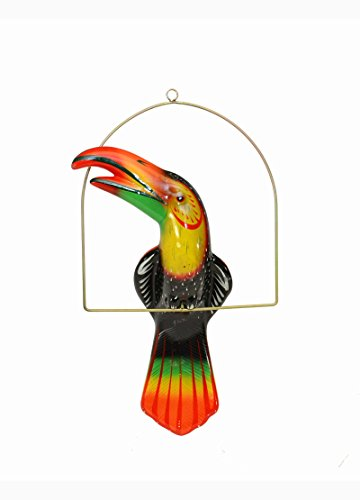 Ceramic Hanging Toucan on Perch-19.25 Inches High, Hand Painted (Black)