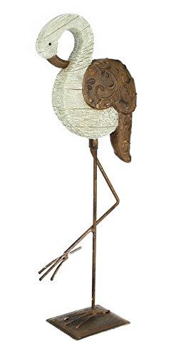 Dekofigur Flamingo skulptur aus Polyresin und Metall stehend Deko ...